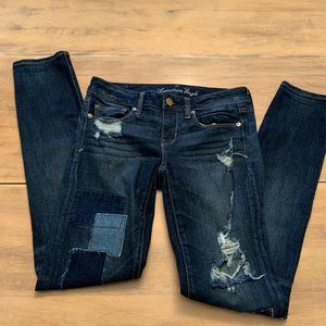 American Eagle Sz 4 skinny women's jeans patches
